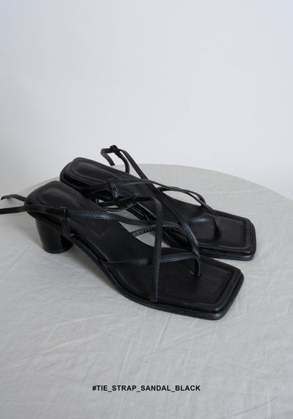 Tie Strap Sandals Black - whoami