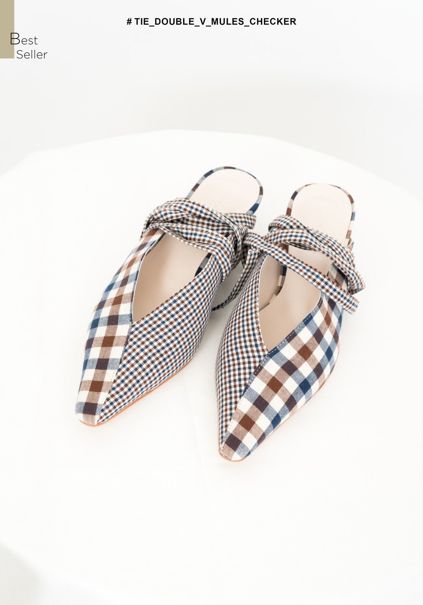 Tie Double V Mules Checker - whoami