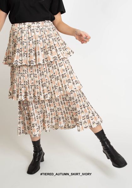 Tiered Autumn Skirt Ivory - whoami