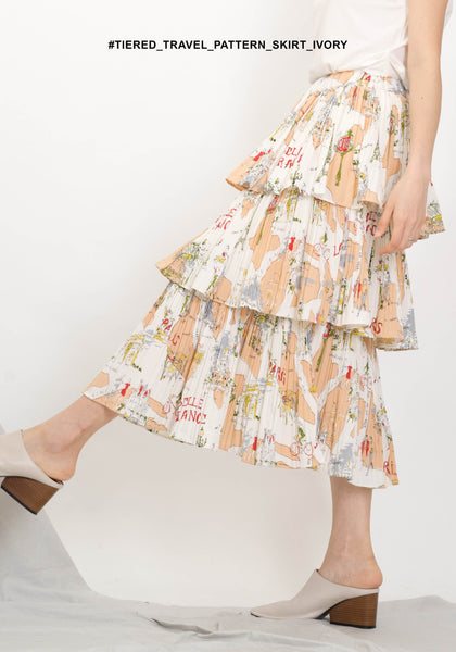 Tiered Travel Pattern Skirt Ivory