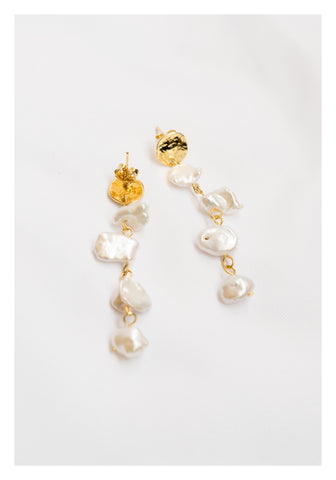 Tiny Flat Pearl On Pearl Earrings