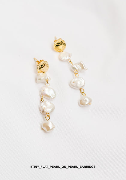 Tiny Flat Pearl On Pearl Earrings - whoami