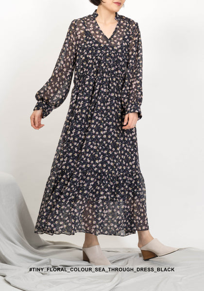 Tiny Floral Colour See Through Dress Black - whoami