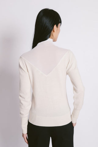 Top Sheer Sweater Ivory - whoami