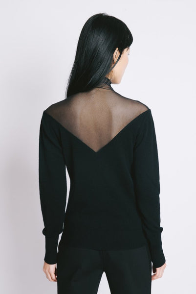 Top Sheer Sweater Black - whoami