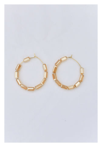 Transparent Long Beads Hoop Earrings Brown - whoami
