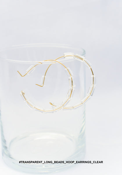 Transparent Long Beads Hoop Earrings Clear - whoami
