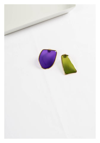 Transparent Resin Earrings Small Purple - whoami