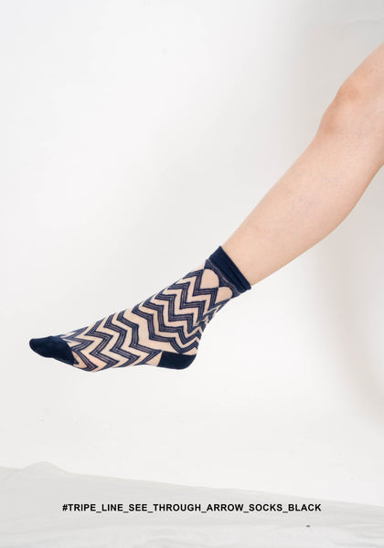Tripe Line See Through Arrow Socks Black - whoami