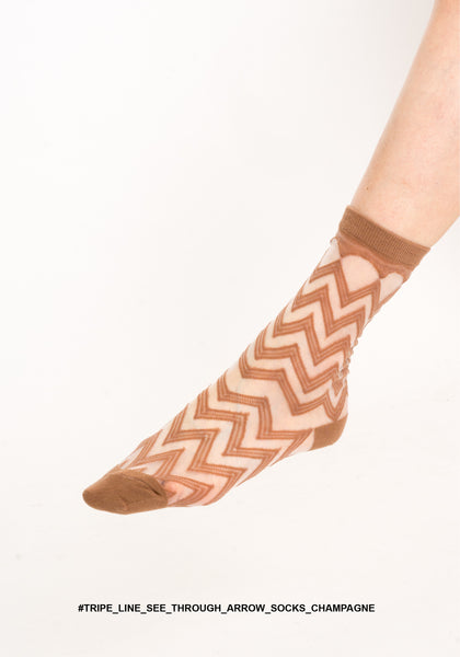 Tripe Line See Through Arrow Socks Champagne - whoami