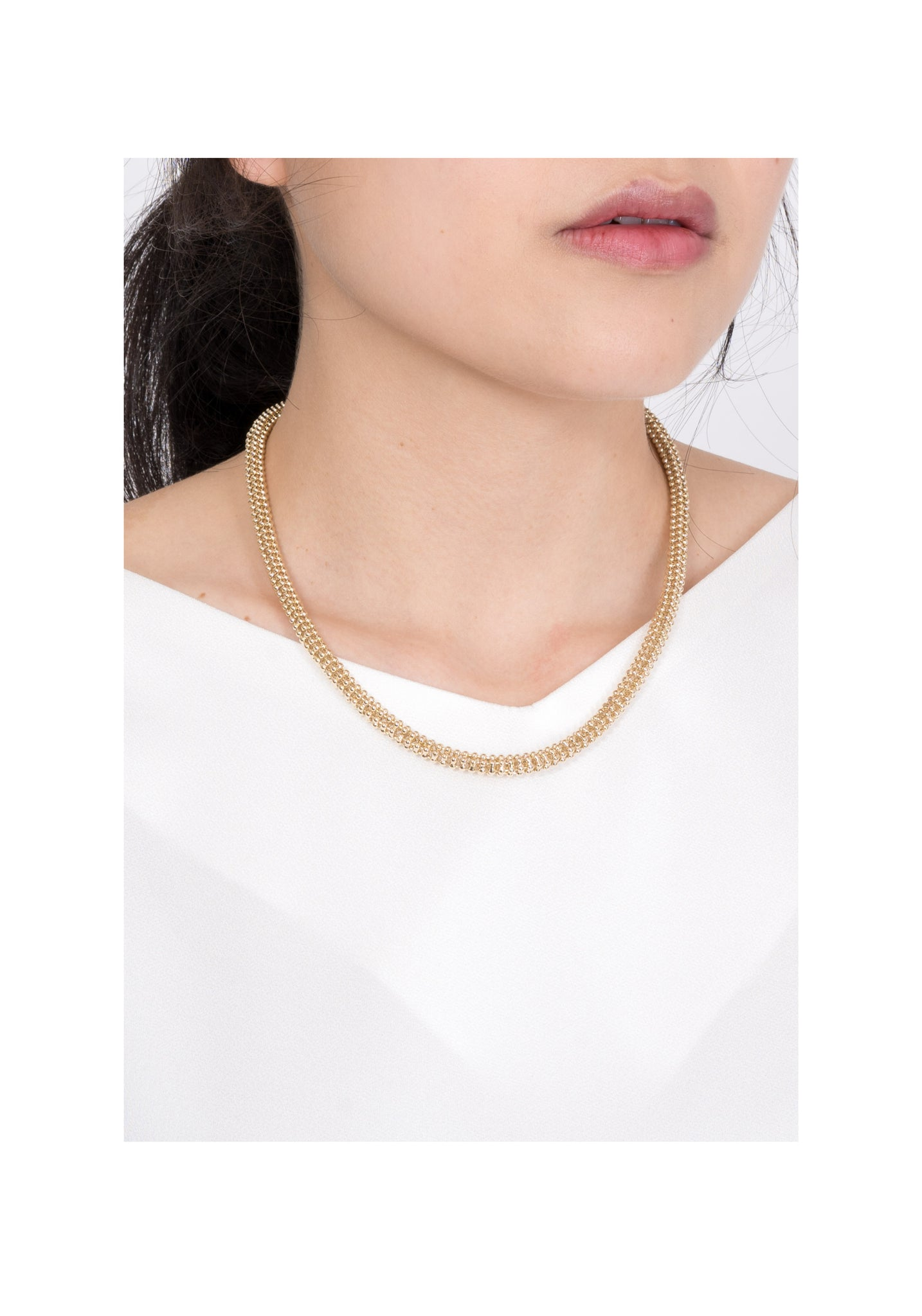 Tube Chain Necklace Matt Gold - whoami