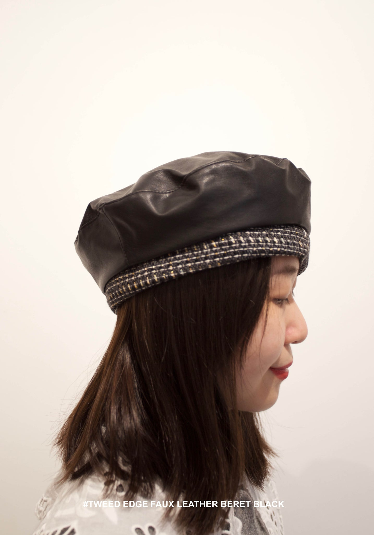 Tweed Edge Faux Leather Beret Black - whoami