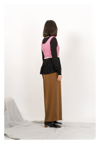 Tweed Cropped Vest Pink - whoami