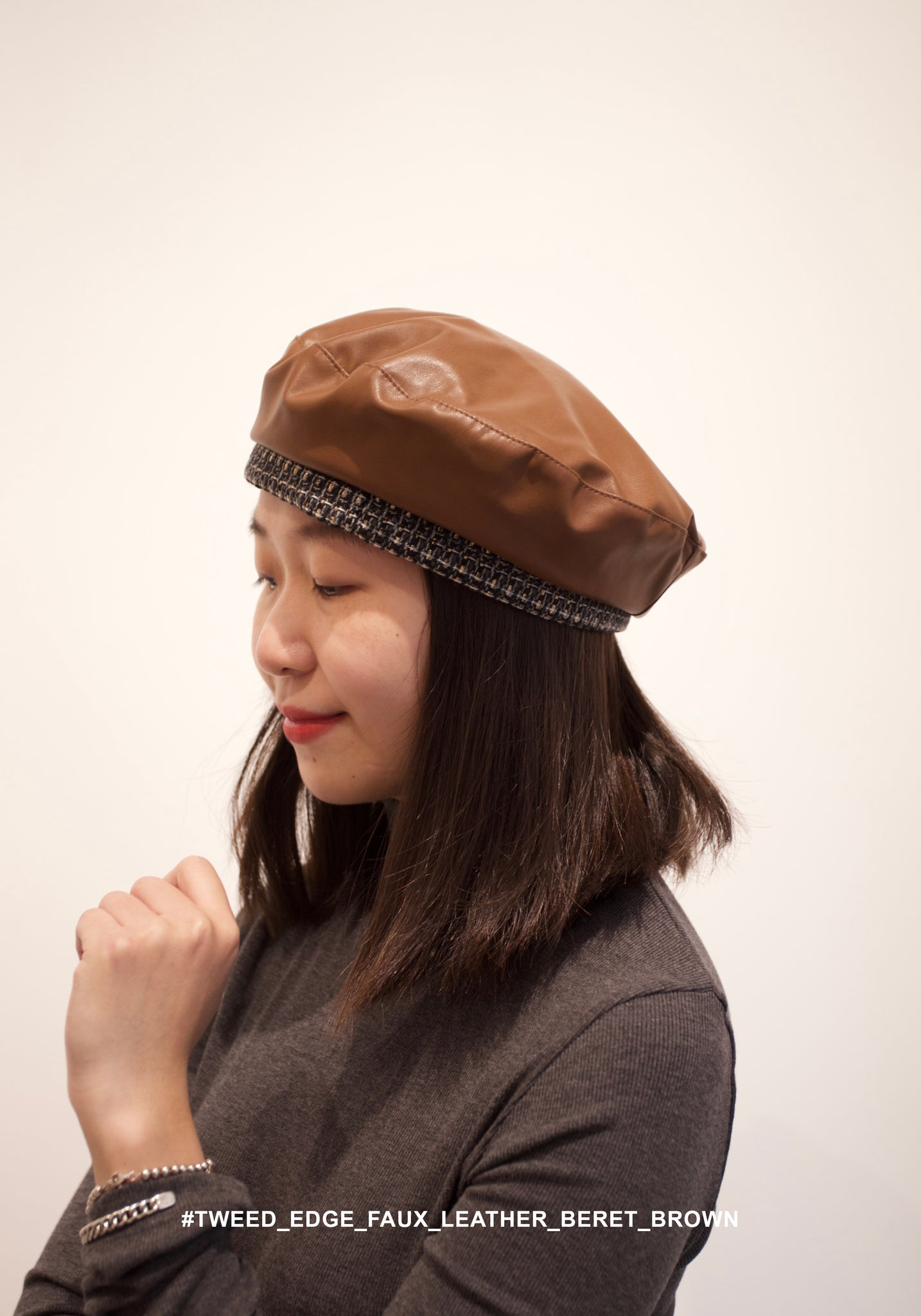 Tweed Edge Faux Leather Beret Brown - whoami
