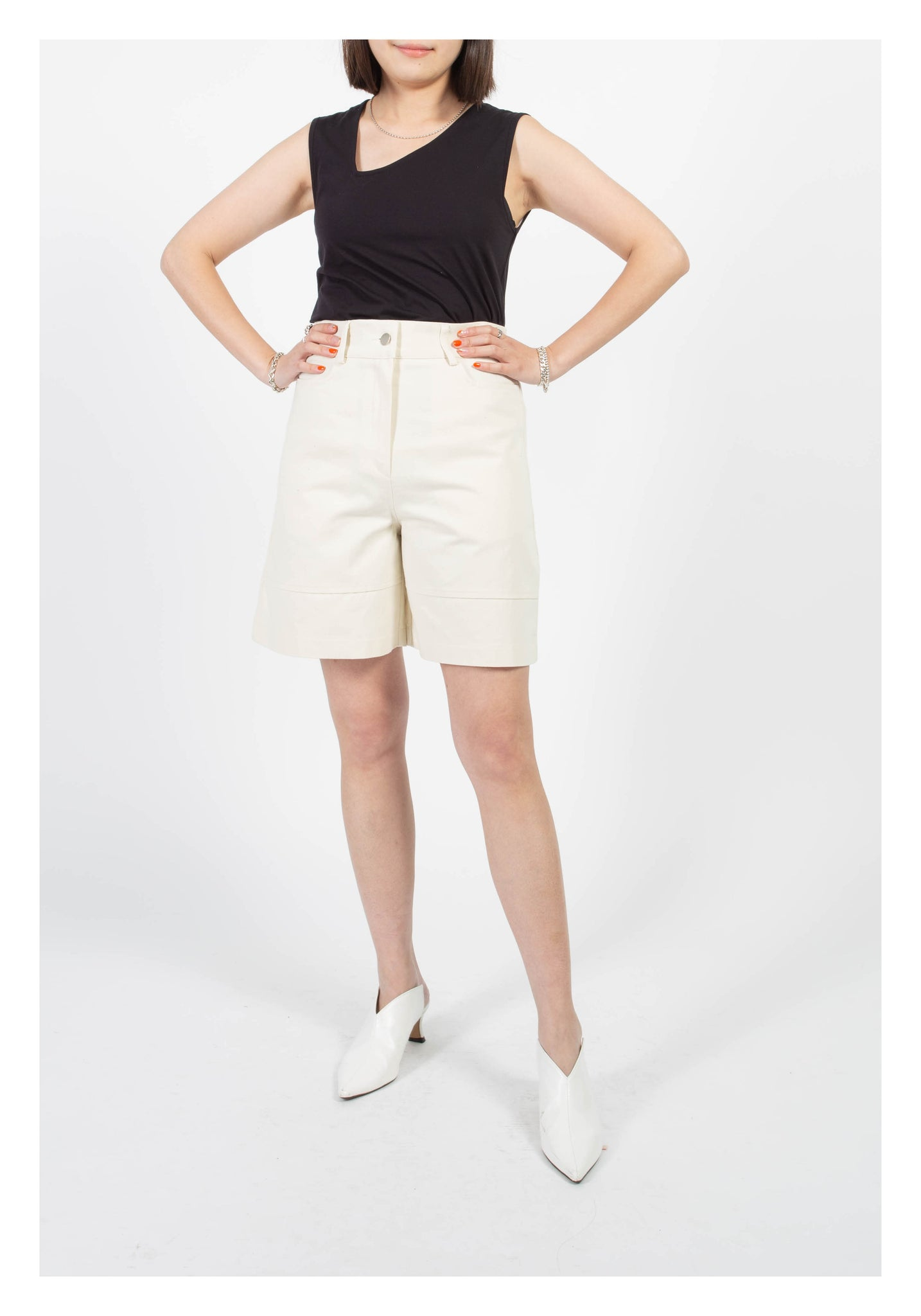 Twill A-Line Shorts Ivory
