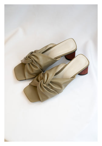 Twisted Wooden Heels Sandal Khaki