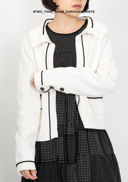 Two Tone Seam Cardigan White - whoami
