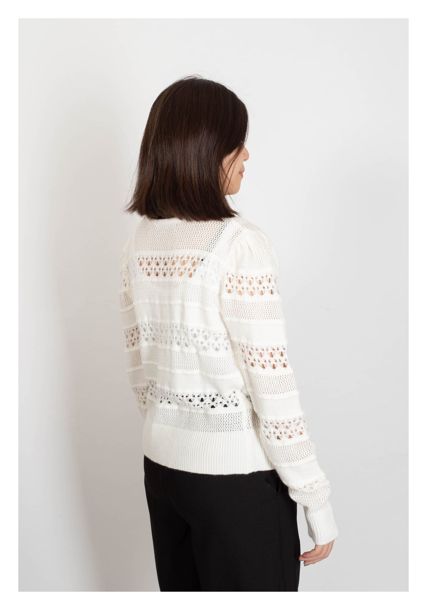 Two Way Knit Pattern Cardigan White - whoami