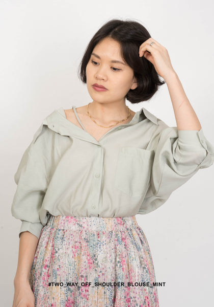 Two Way Off Shoulder Blouse Mint