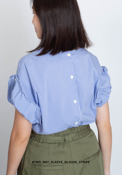 Two Way Sleeve Blouse Stripe - whoami
