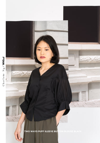 Two Ways Puff Sleeve Button Blouse Black