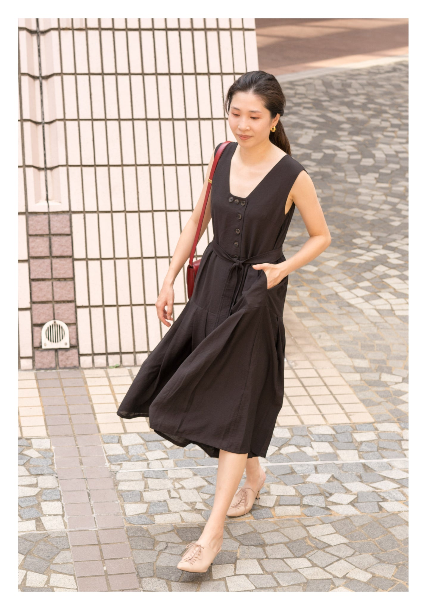 Two Ways Square Neck Button Dress Black