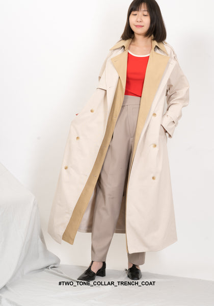 Two Tone Collar Trench Coat