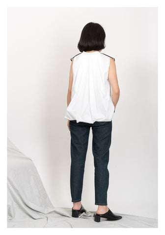 Two Tone Seam Shirt Vest White