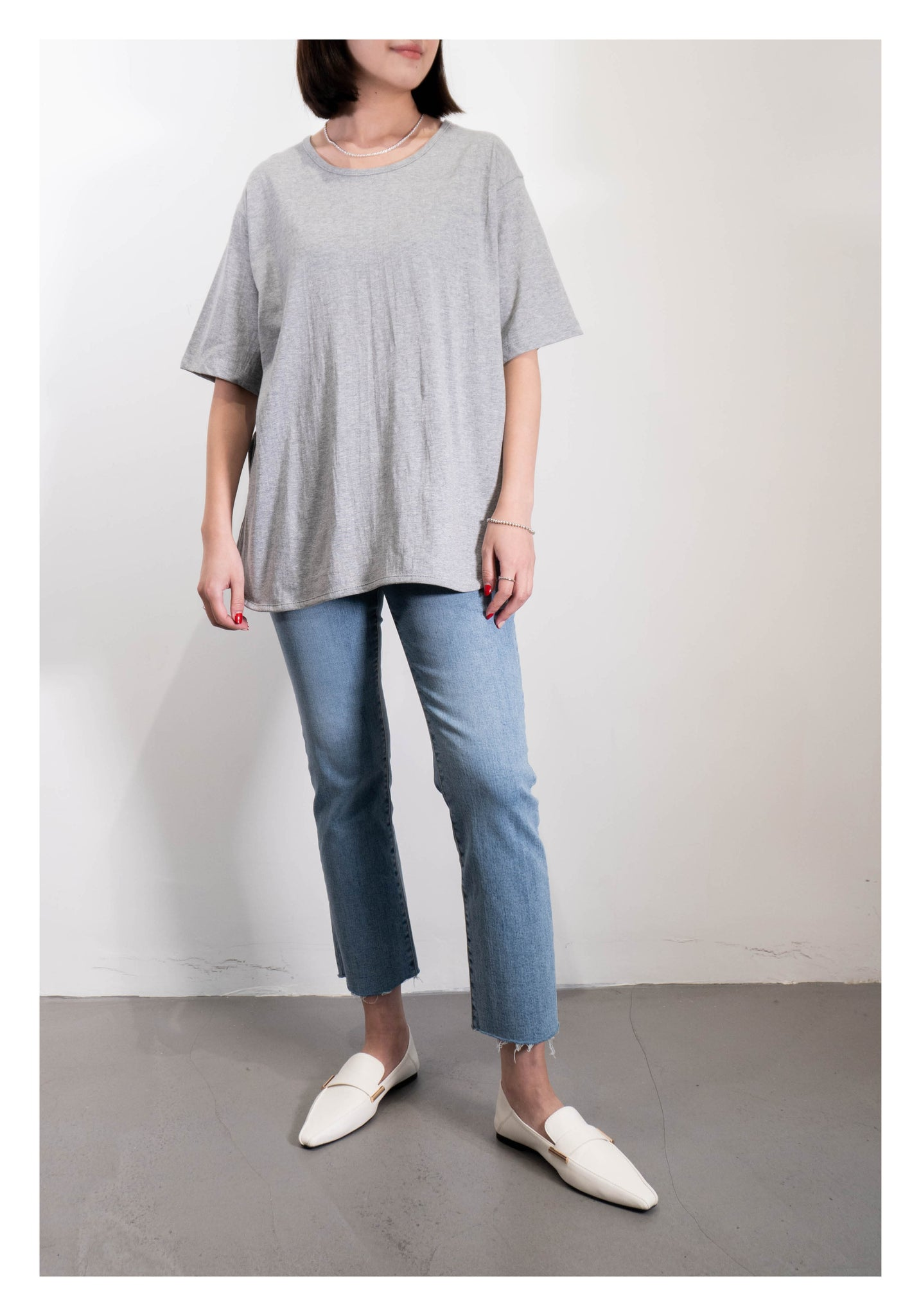 U Collar Slit Tee Grey - whoami