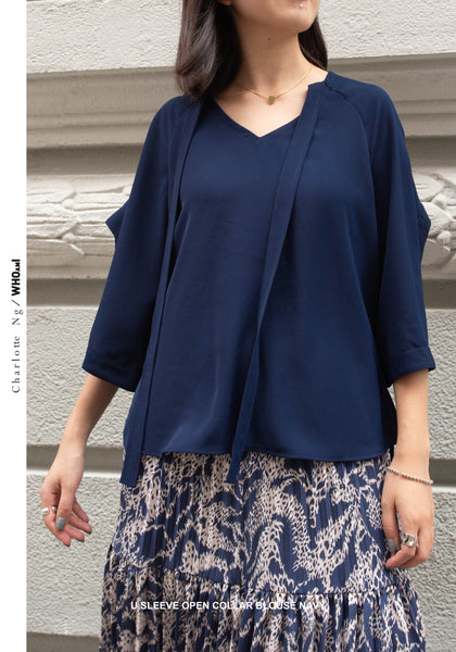 U Sleeve Open Collar Blouse Navy - whoami
