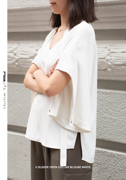 U Sleeve Open Collar Blouse White - whoami