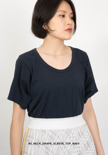 U Neck Drape Sleeve Top Navy