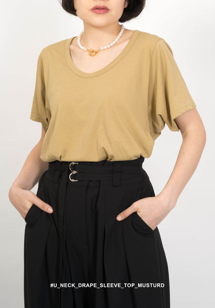 U Neck Drape Sleeve Top Mustard