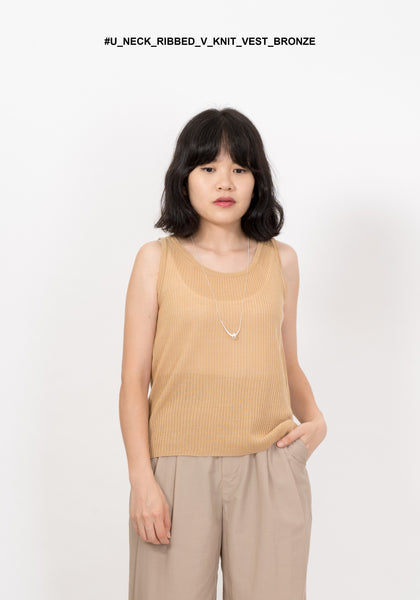 U Neck Ribbed V Knit Vest Bronze