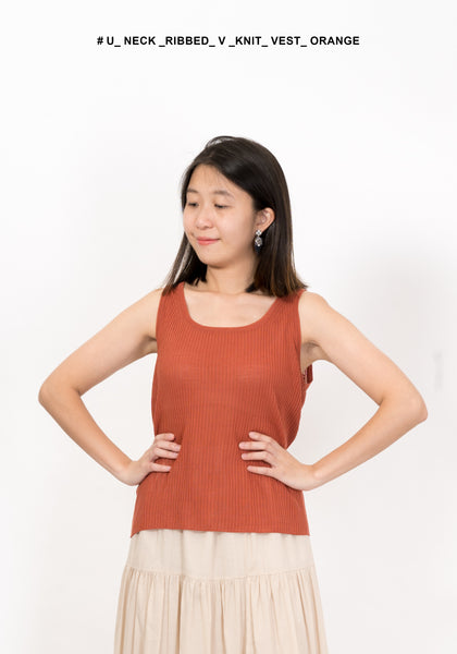 U Neck Ribbed V Knit Vest Orange
