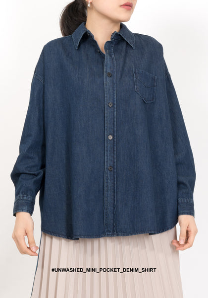 Unwashed Mini Pocket Denim Shirt