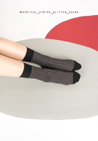 Vertical Stripe Glitter Socks Black