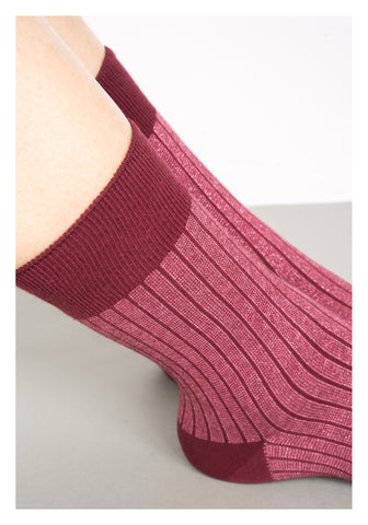 Vertical Stripe Glitter Socks Red