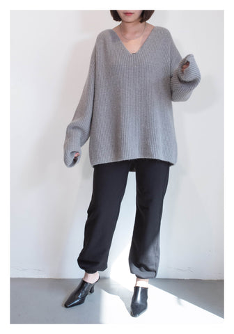 V Neck Wool Ribbed Knit Top Grey - whoami