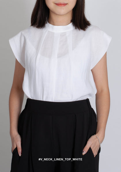 V Neck Linen Top White - whoami