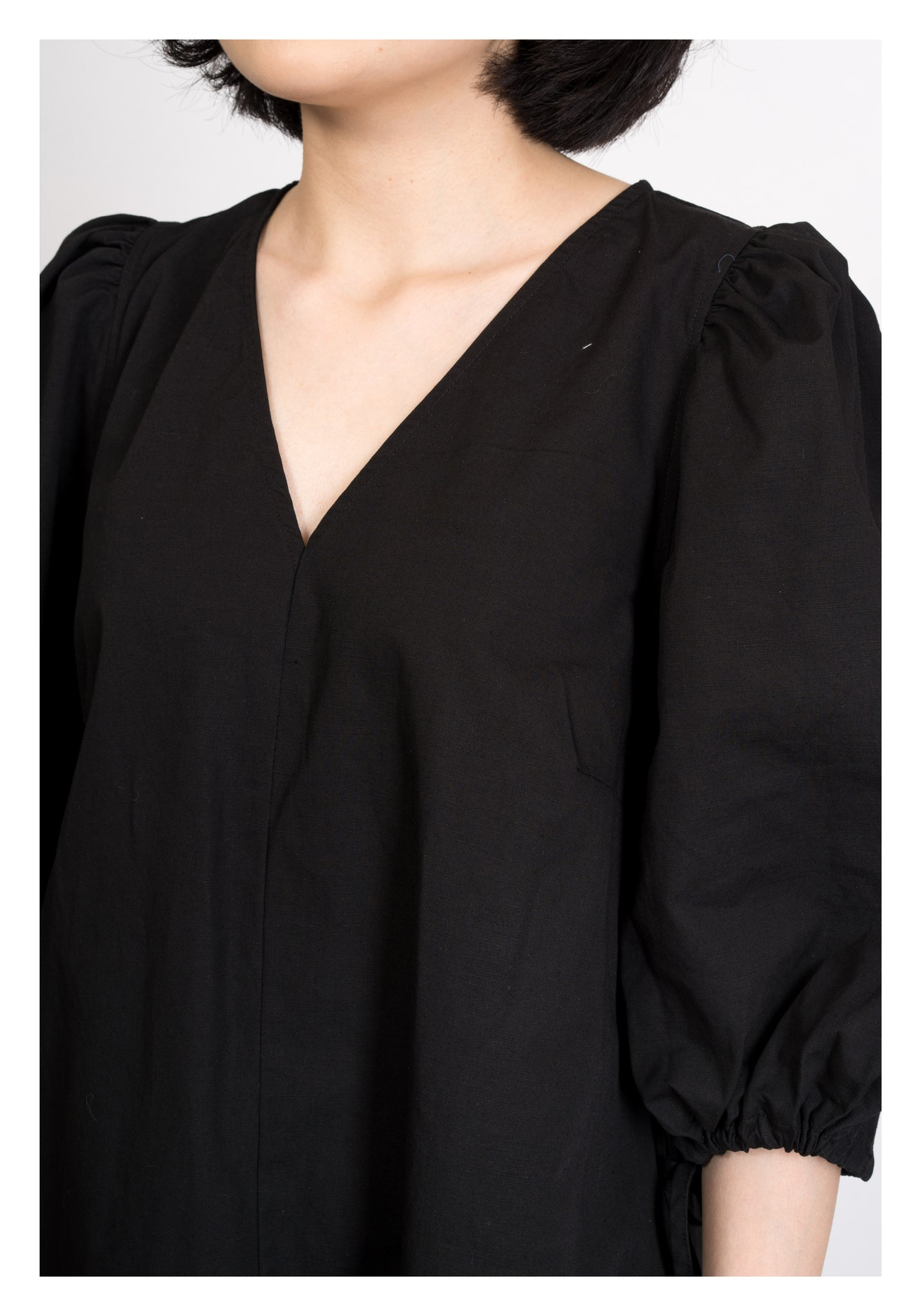 V Neck Puff Sleeves Dress Black - whoami