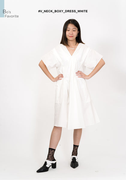 V Neck Boxy Dress White