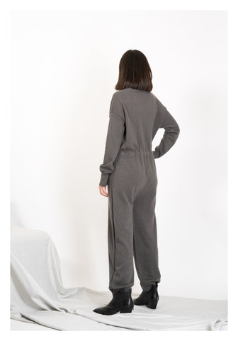 V Neck Knit Jumpsuit Charcoal - whoami