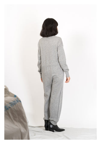 V Neck Knit Jumpsuit Grey - whoami