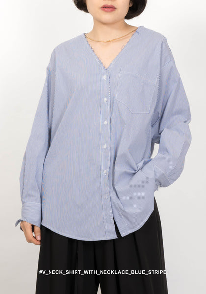 V Neck Shirt With Necklace Blue Stripe
