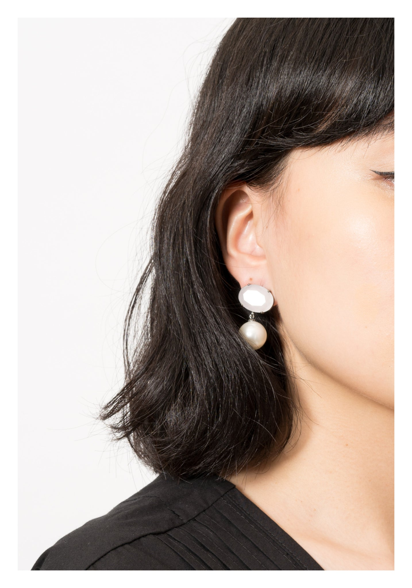 Milky Gem and Pearl Earrings - whoami