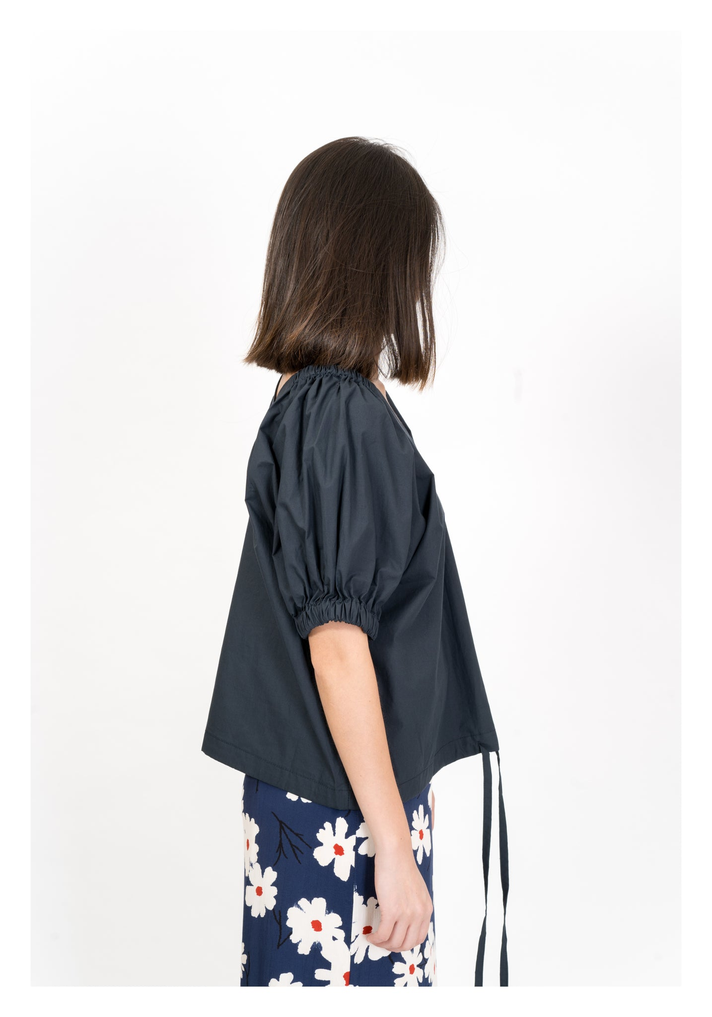 V Neck Elastic Band Puff Top Navy