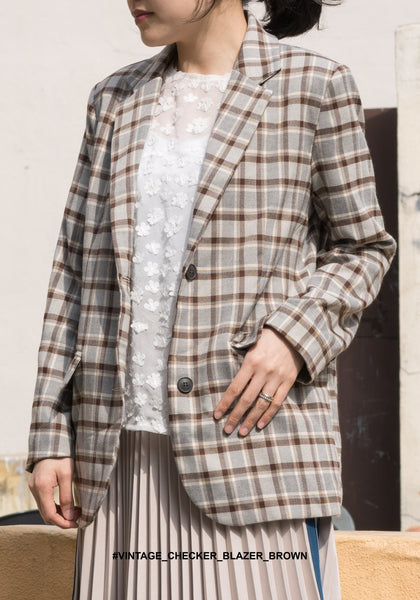 Vintage Checker Blazer Brown - whoami