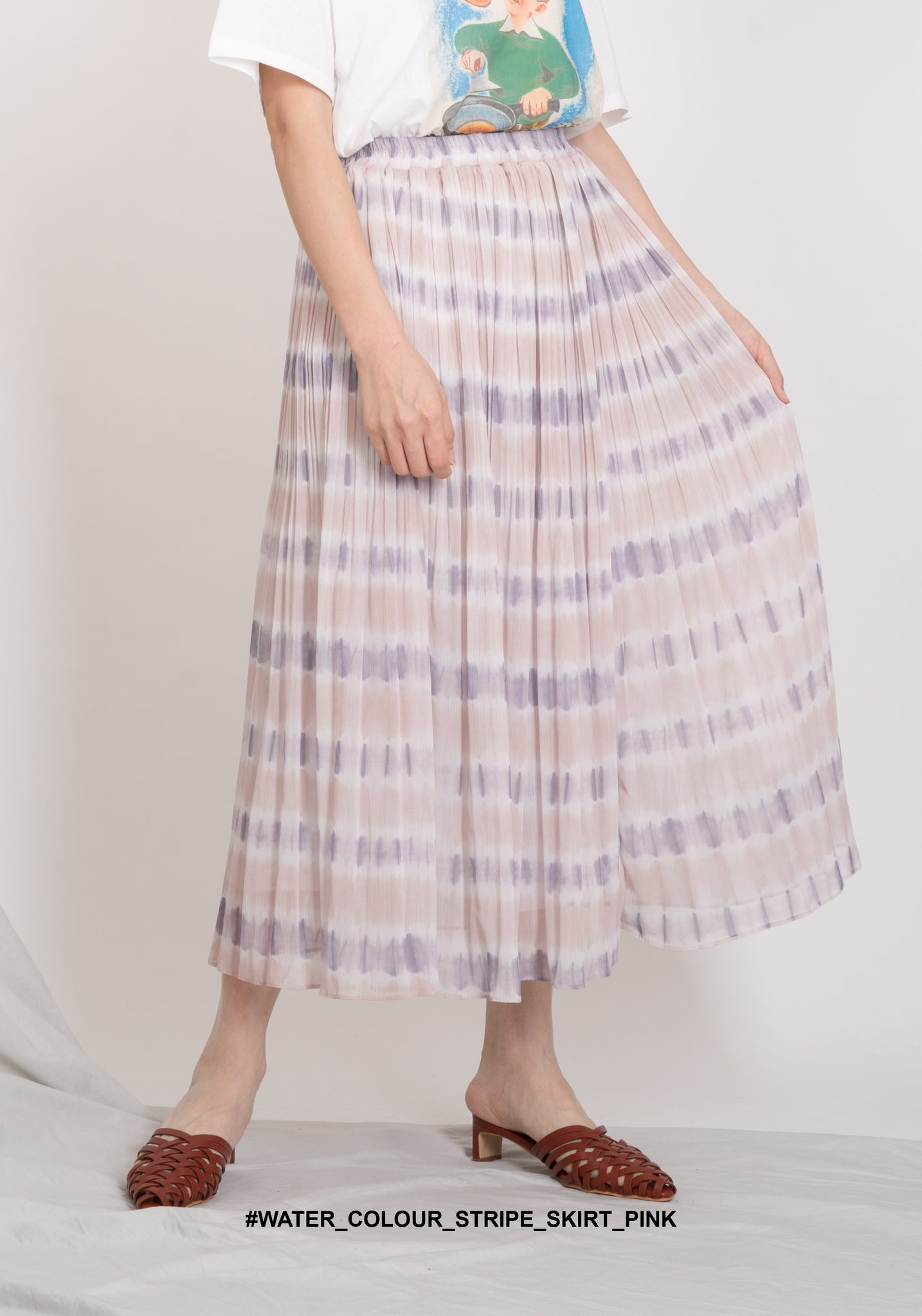 Water Colour Stripe Skirt Pink - whoami