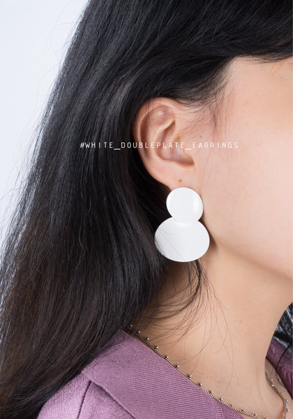 White Double Plate Earrings - whoami